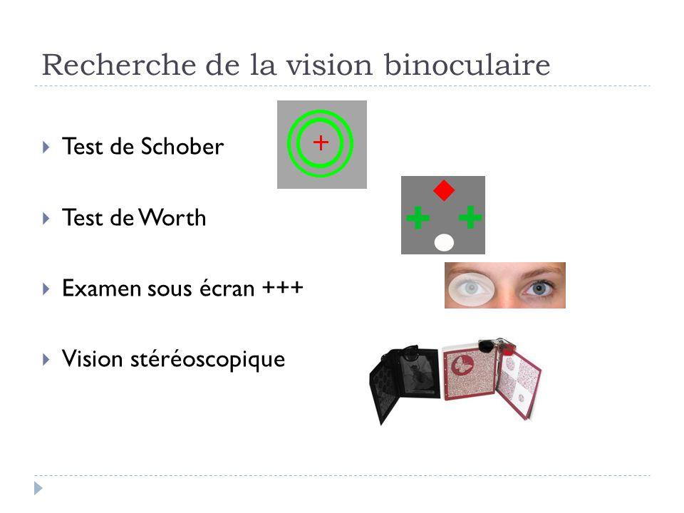 Recherche de la vision binoculaire  Test de Schober  Test de Worth  Examen sous écran +++  Vision stéréoscopique