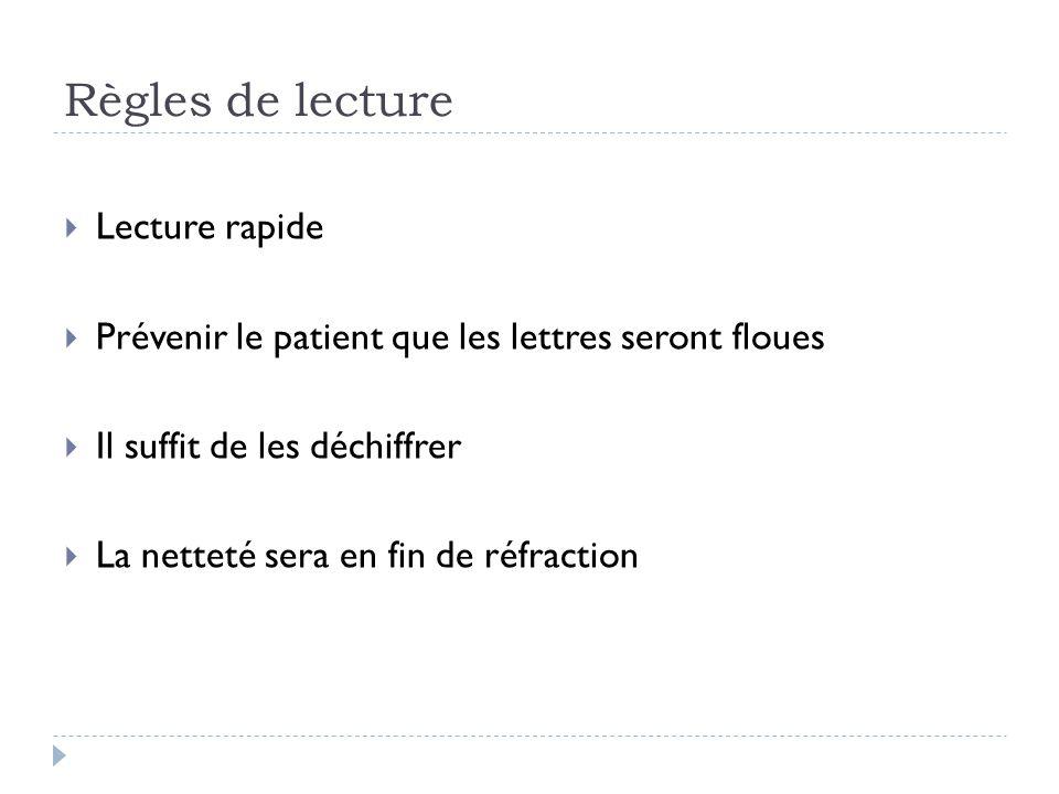 Règles de lecture  Lecture rapide  Prévenir le patient que les lettres seront floues  Il suffit de les déchiffrer  La netteté sera en fin de réfra