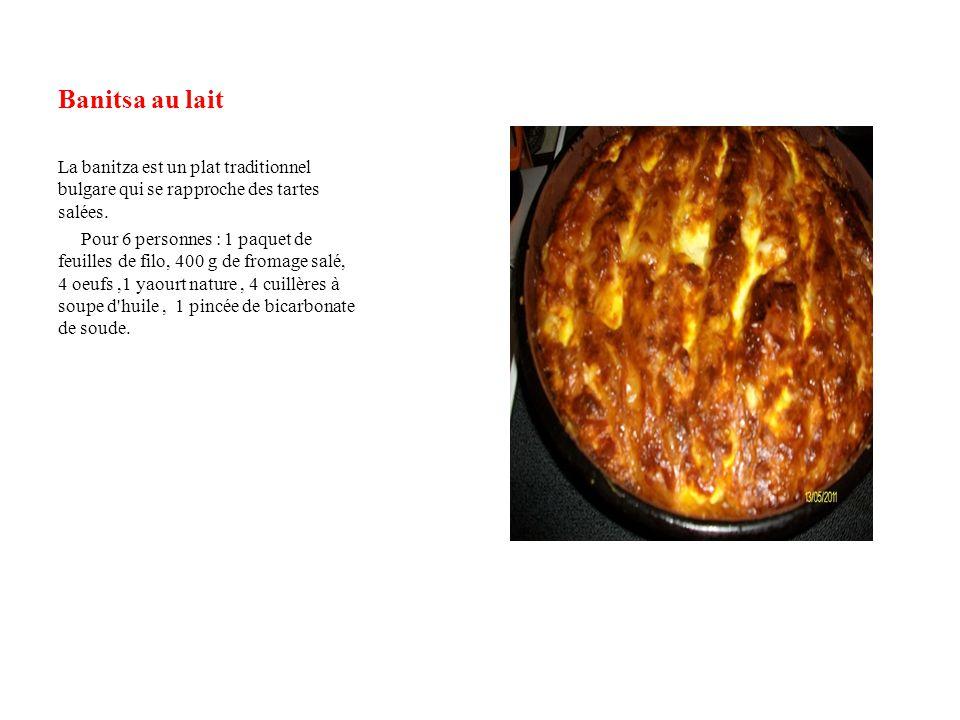Banitsa au lait La banitza est un plat traditionnel bulgare qui se rapproche des tartes salées. Pour 6 personnes : 1 paquet de feuilles de filo, 400 g