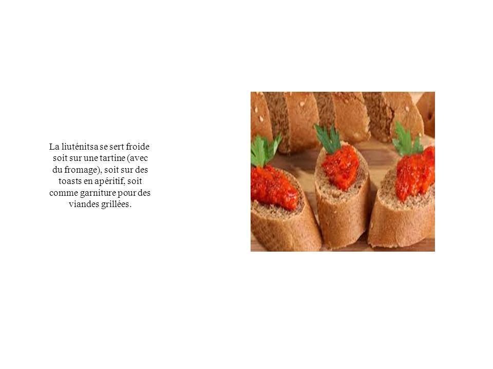 La liuténitsa se sert froide soit sur une tartine (avec du fromage), soit sur des toasts en apéritif, soit comme garniture pour des viandes grillées.