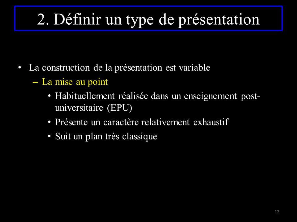 La construction de la présentation est variable – La mise au point Habituellement réalisée dans un enseignement post- universitaire (EPU) Présente un