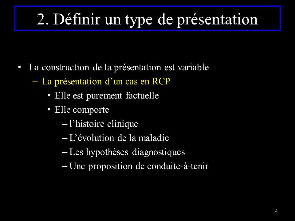 La construction de la présentation est variable – La présentation d'un cas en RCP Elle est purement factuelle Elle comporte – l'histoire clinique – L'