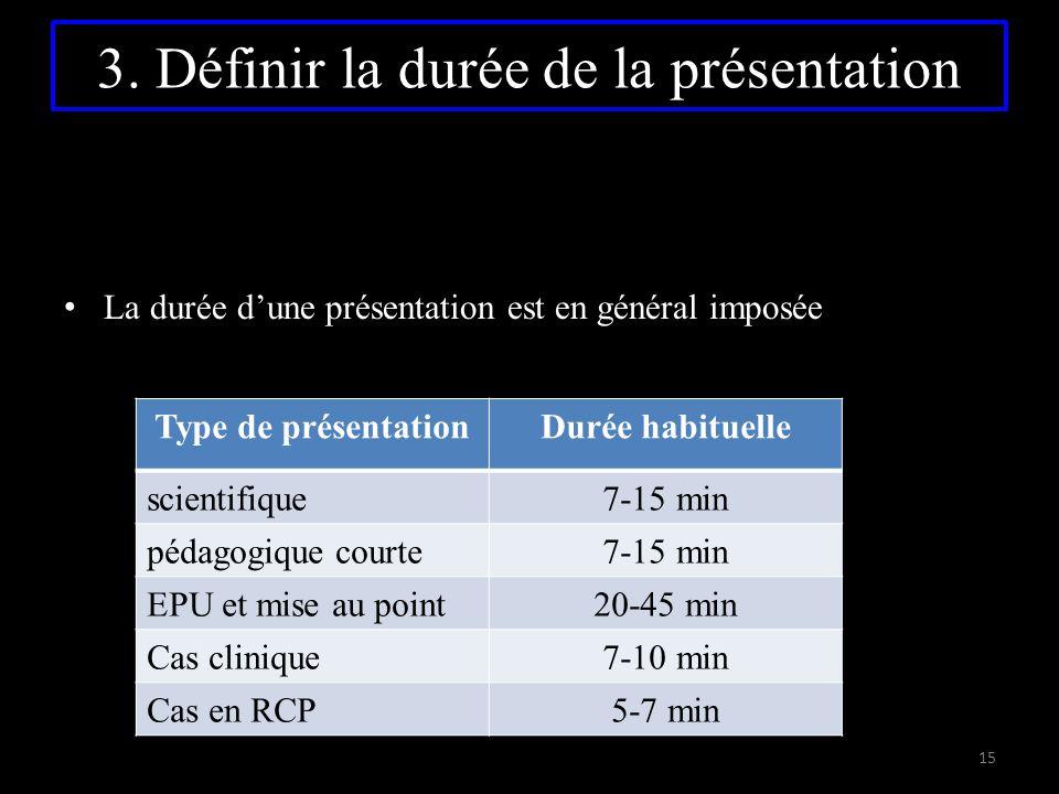 3. Définir la durée de la présentation La durée d'une présentation est en général imposée Type de présentationDurée habituelle scientifique7-15 min pé