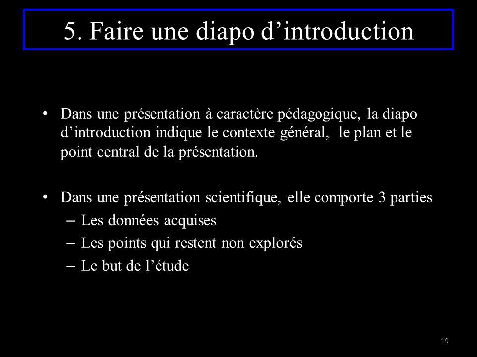 5. Faire une diapo d'introduction Dans une présentation à caractère pédagogique, la diapo d'introduction indique le contexte général, le plan et le po