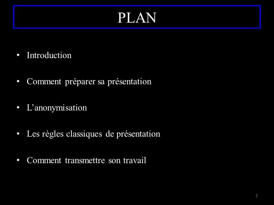 PLAN Introduction Comment préparer sa présentation L'anonymisation Les règles classiques de présentation Comment transmettre son travail 3