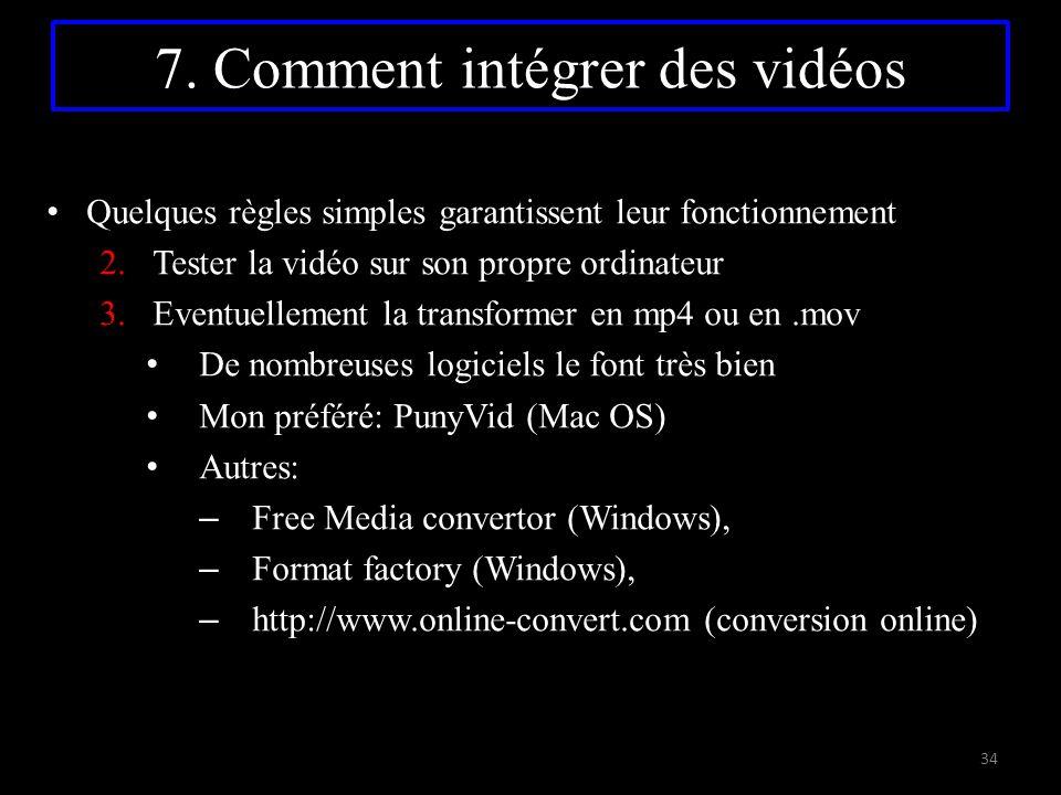 7. Comment intégrer des vidéos Quelques règles simples garantissent leur fonctionnement 2.Tester la vidéo sur son propre ordinateur 3.Eventuellement l