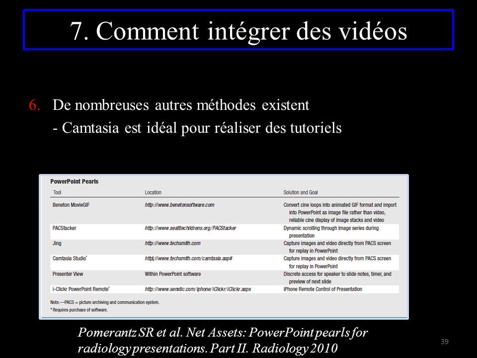 7. Comment intégrer des vidéos 6.De nombreuses autres méthodes existent - Camtasia est idéal pour réaliser des tutoriels Pomerantz SR et al. Net Asset