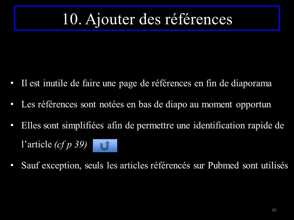 10. Ajouter des références Il est inutile de faire une page de références en fin de diaporama Les références sont notées en bas de diapo au moment opp