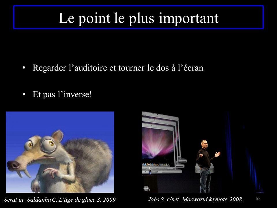 Le point le plus important Regarder l'auditoire et tourner le dos à l'écran Et pas l'inverse! 55 Scrat in: Saldanha C. L'âge de glace 3. 2009 Jobs S.