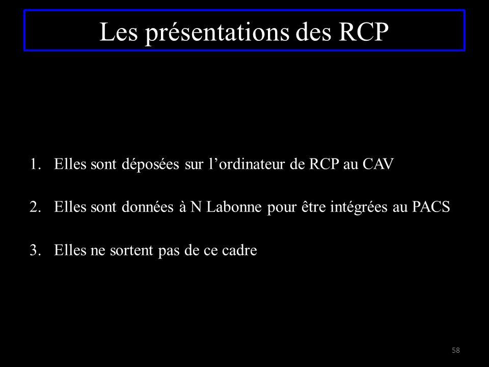 Les présentations des RCP 1.Elles sont déposées sur l'ordinateur de RCP au CAV 2.Elles sont données à N Labonne pour être intégrées au PACS 3.Elles ne