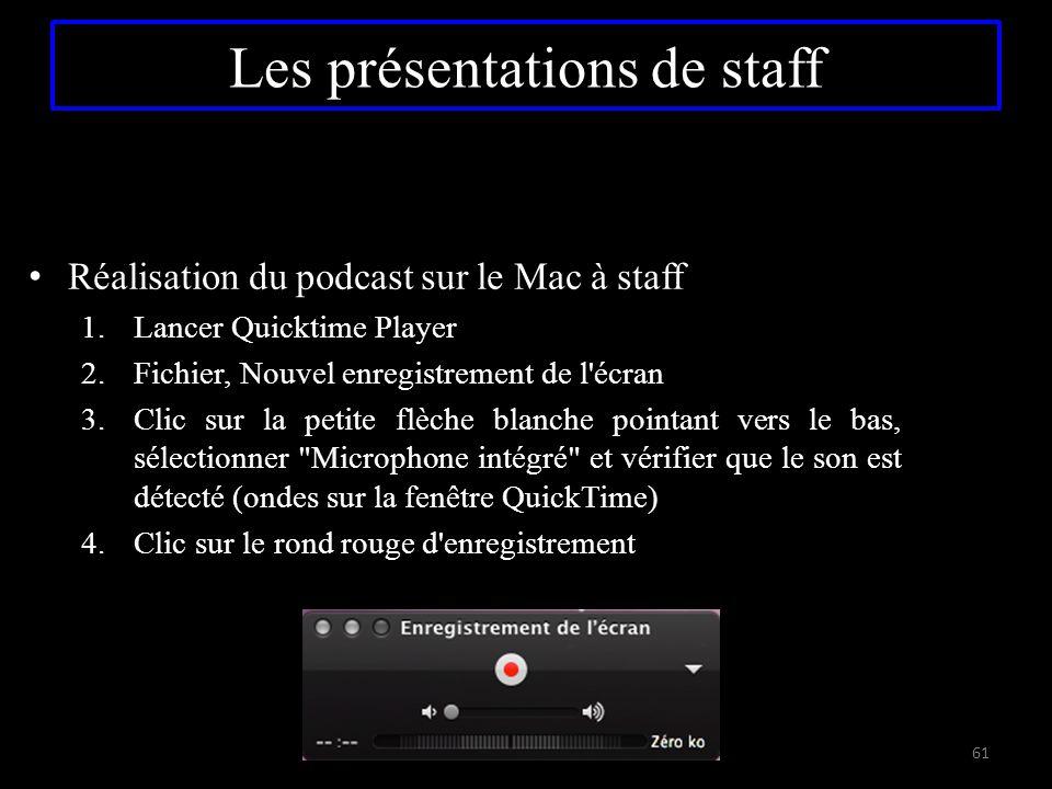 Réalisation du podcast sur le Mac à staff 1.Lancer Quicktime Player 2.Fichier, Nouvel enregistrement de l'écran 3.Clic sur la petite flèche blanche po