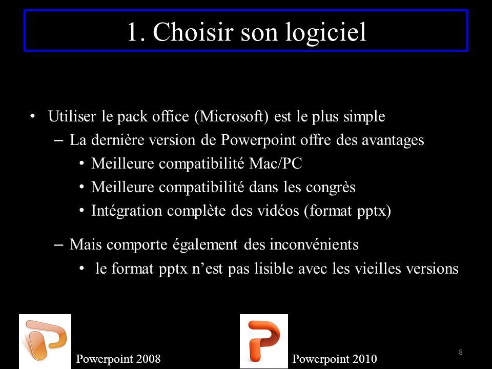 1. Choisir son logiciel Utiliser le pack office (Microsoft) est le plus simple – La dernière version de Powerpoint offre des avantages Meilleure compa
