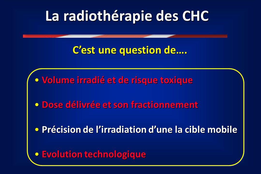 La radiothérapie des CHC C'est une question de…. Volume irradié et de risque toxique Volume irradié et de risque toxique Dose délivrée et son fraction