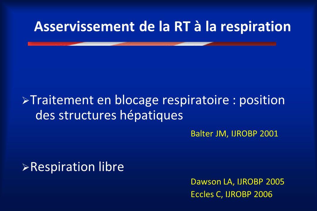 Asservissement de la RT à la respiration  Traitement en blocage respiratoire : position des structures hépatiques Balter JM, IJROBP 2001  Respiratio