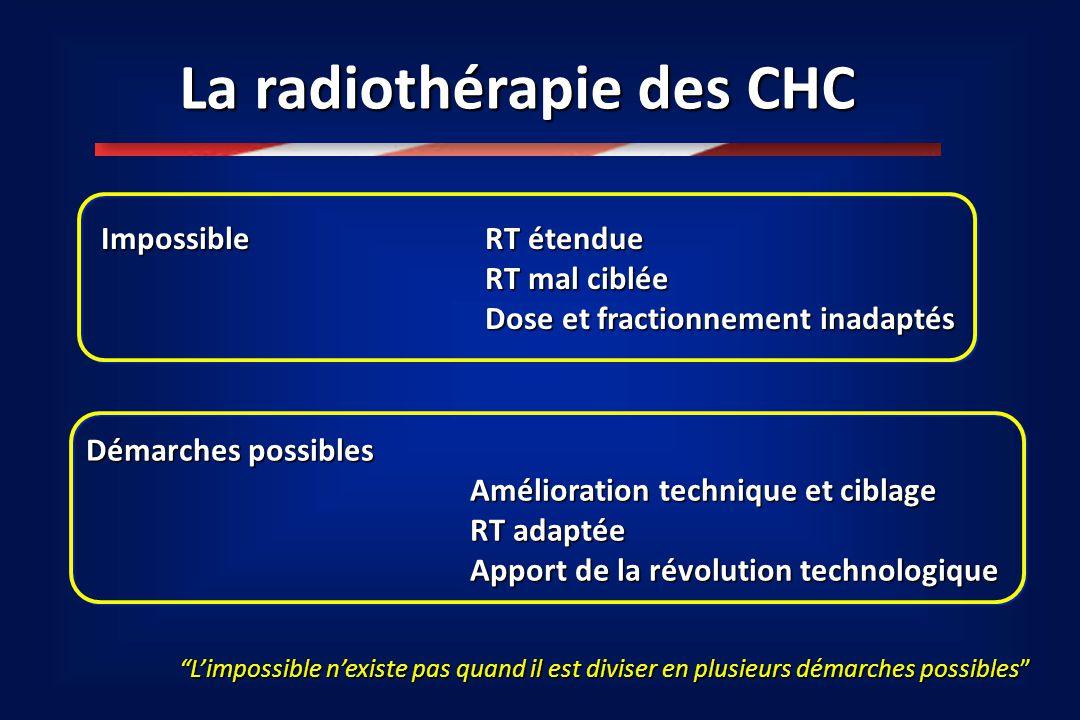 """La radiothérapie des CHC """"L'impossible n'existe pas quand il est diviser en plusieurs démarches possibles"""" Impossible RT étendue RT mal ciblée Dose et"""
