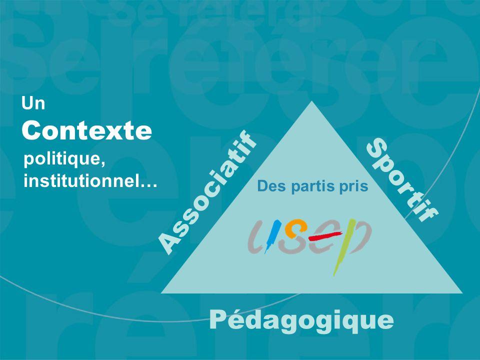 Contexte Sportif Associatif Pédagogique Des partis pris Un politique, institutionnel…