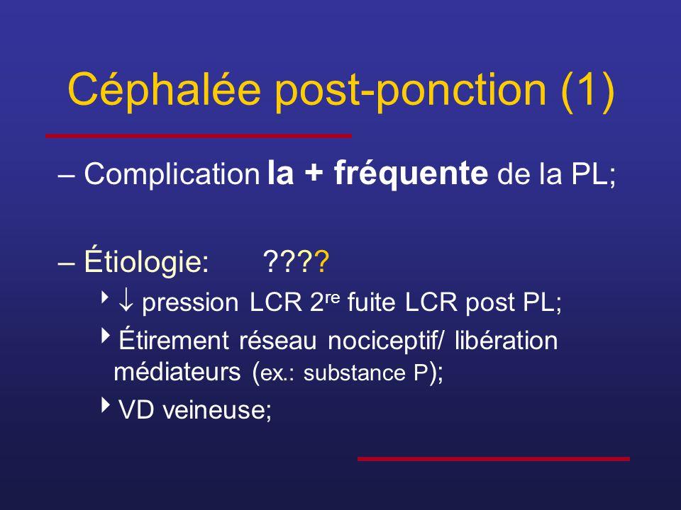 Céphalée post-ponction (2) –Dans 48h chez 80% (immédiat ad 14 j.); –Dure < 5 jours chez 80% (ad 1 an); –Frontale, occipitale, généralisée ou pulsatile;