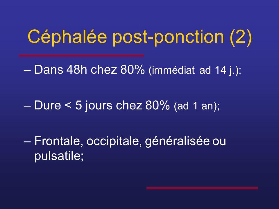 Céphalée post-ponction (2) –Dans 48h chez 80% (immédiat ad 14 j.); –Dure < 5 jours chez 80% (ad 1 an); –Frontale, occipitale, généralisée ou pulsatile