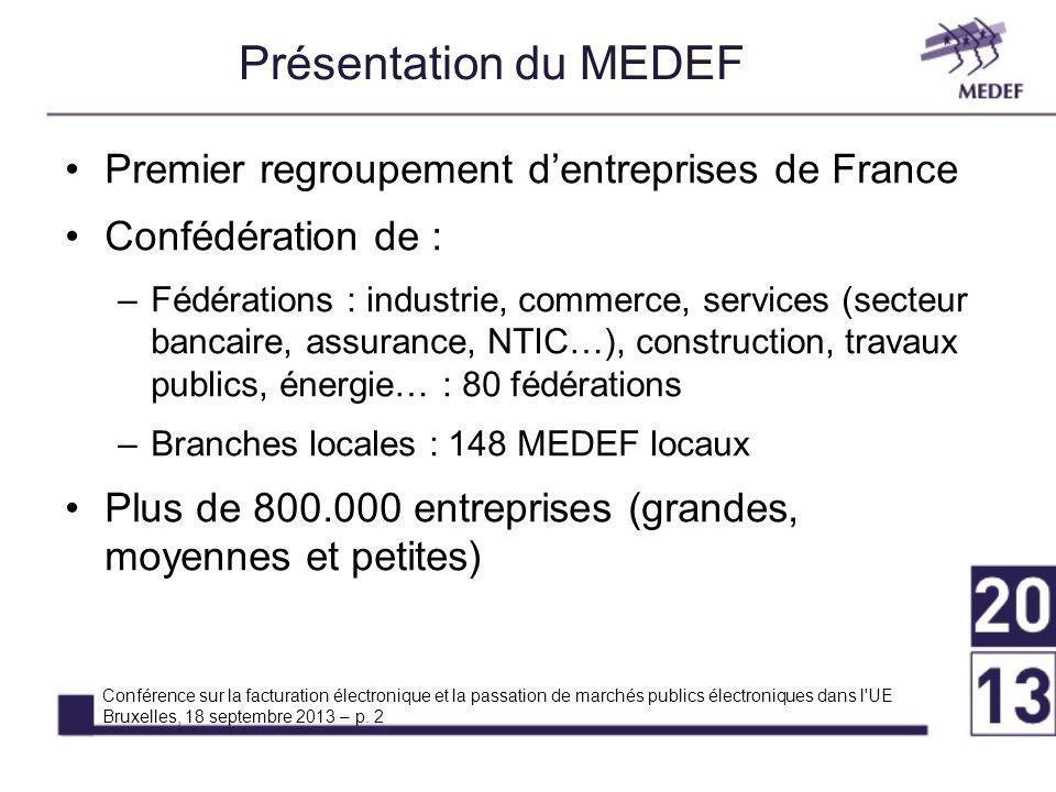 Présentation du MEDEF Conférence sur la facturation électronique et la passation de marchés publics électroniques dans l UE Bruxelles, 18 septembre 2013 – p.