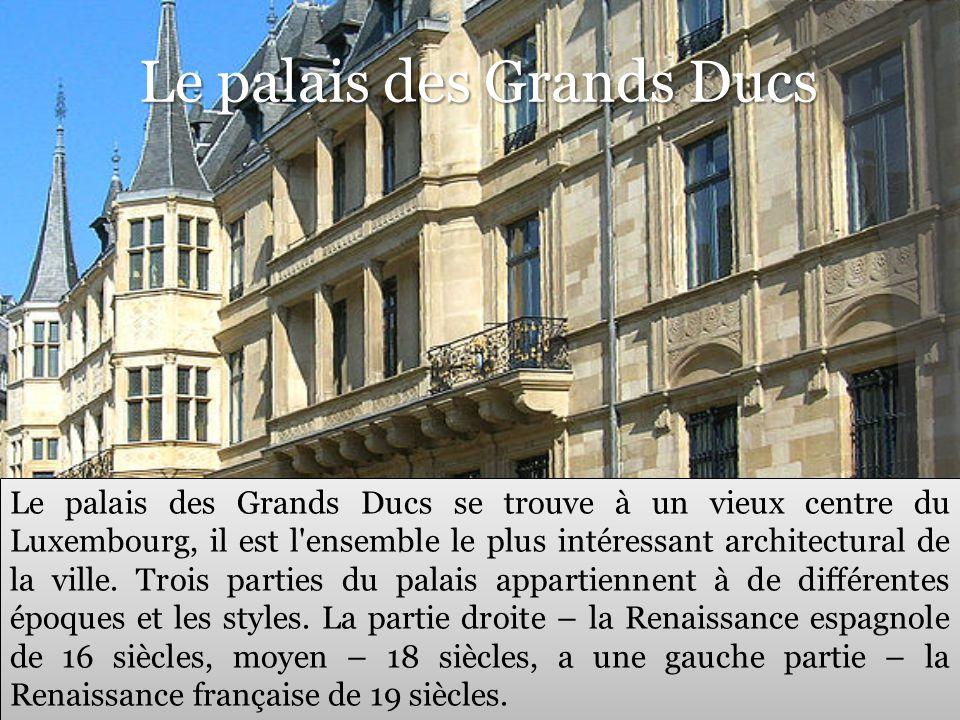 Le palais des Grands Ducs Le palais des Grands Ducs se trouve à un vieux centre du Luxembourg, il est l'ensemble le plus intéressant architectural de
