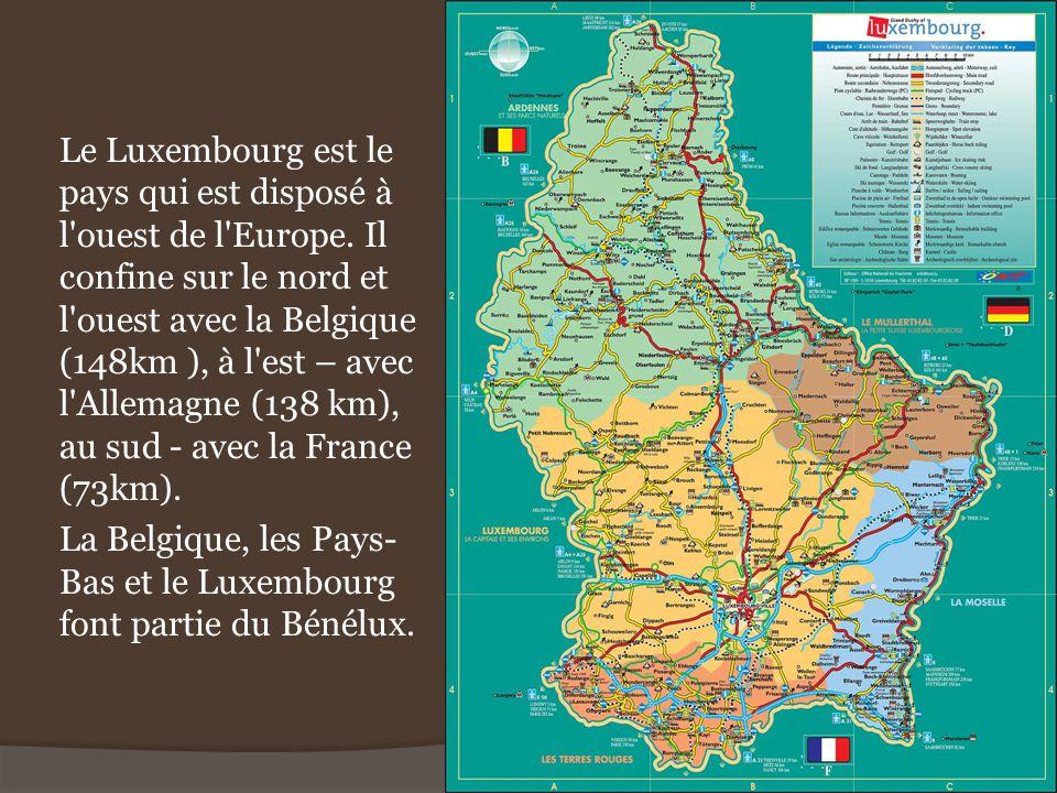Le Luxembourg est le pays qui est disposé à l'ouest de l'Europe. Il confine sur le nord et l'ouest avec la Belgique (148km ), à l'est – avec l'Allemag