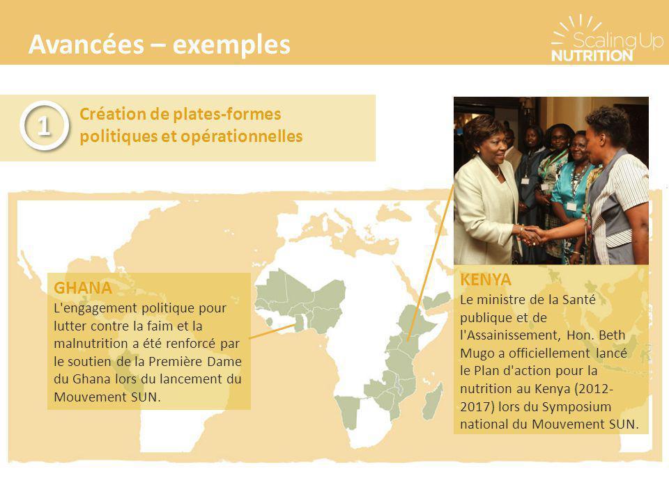 Avancées – exemples Création de plates-formes politiques et opérationnelles 1 1 GHANA L'engagement politique pour lutter contre la faim et la malnutri