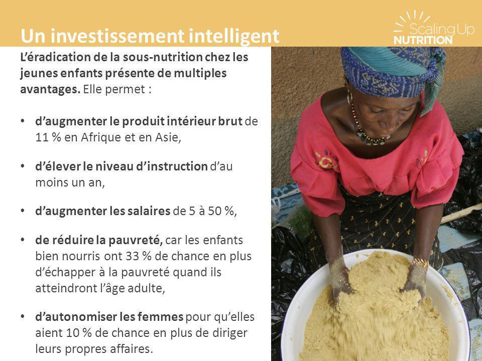 Un investissement intelligent L'éradication de la sous-nutrition chez les jeunes enfants présente de multiples avantages. Elle permet : d'augmenter le