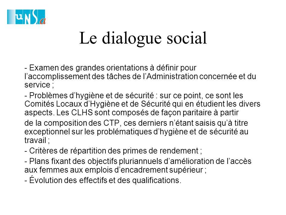 Le dialogue social - Examen des grandes orientations à définir pour l'accomplissement des tâches de l'Administration concernée et du service ; - Problèmes d'hygiène et de sécurité : sur ce point, ce sont les Comités Locaux d'Hygiène et de Sécurité qui en étudient les divers aspects.
