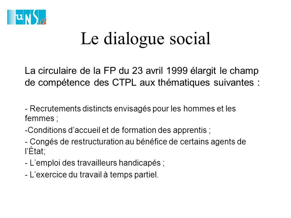 Le dialogue social La circulaire de la FP du 23 avril 1999 élargit le champ de compétence des CTPL aux thématiques suivantes : - Recrutements distincts envisagés pour les hommes et les femmes ; -Conditions d'accueil et de formation des apprentis ; - Congés de restructuration au bénéfice de certains agents de l'État; - L'emploi des travailleurs handicapés ; - L'exercice du travail à temps partiel.