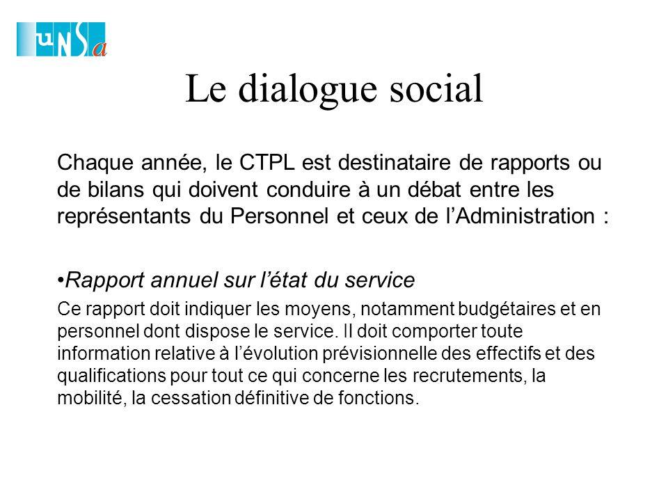 Le dialogue social Chaque année, le CTPL est destinataire de rapports ou de bilans qui doivent conduire à un débat entre les représentants du Personnel et ceux de l'Administration : Rapport annuel sur l'état du service Ce rapport doit indiquer les moyens, notamment budgétaires et en personnel dont dispose le service.