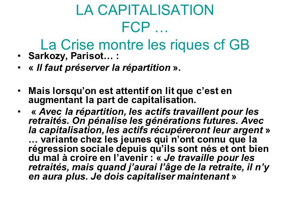 LA CAPITALISATION FCP … La Crise montre les riques cf GB Sarkozy, Parisot… : « Il faut préserver la répartition ». Mais lorsqu'on est attentif on lit