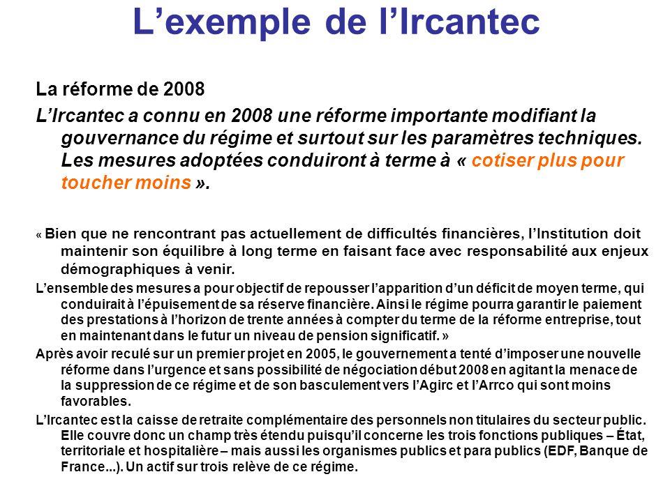 L'exemple de l'Ircantec La réforme de 2008 L'Ircantec a connu en 2008 une réforme importante modifiant la gouvernance du régime et surtout sur les paramètres techniques.