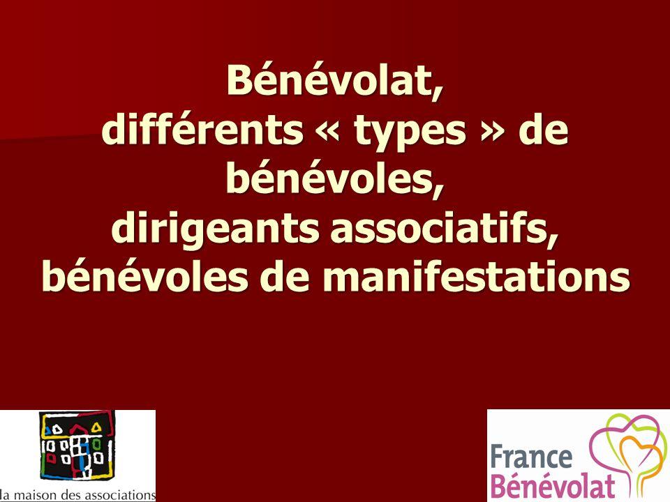 Bénévolat, différents « types » de bénévoles, dirigeants associatifs, bénévoles de manifestations