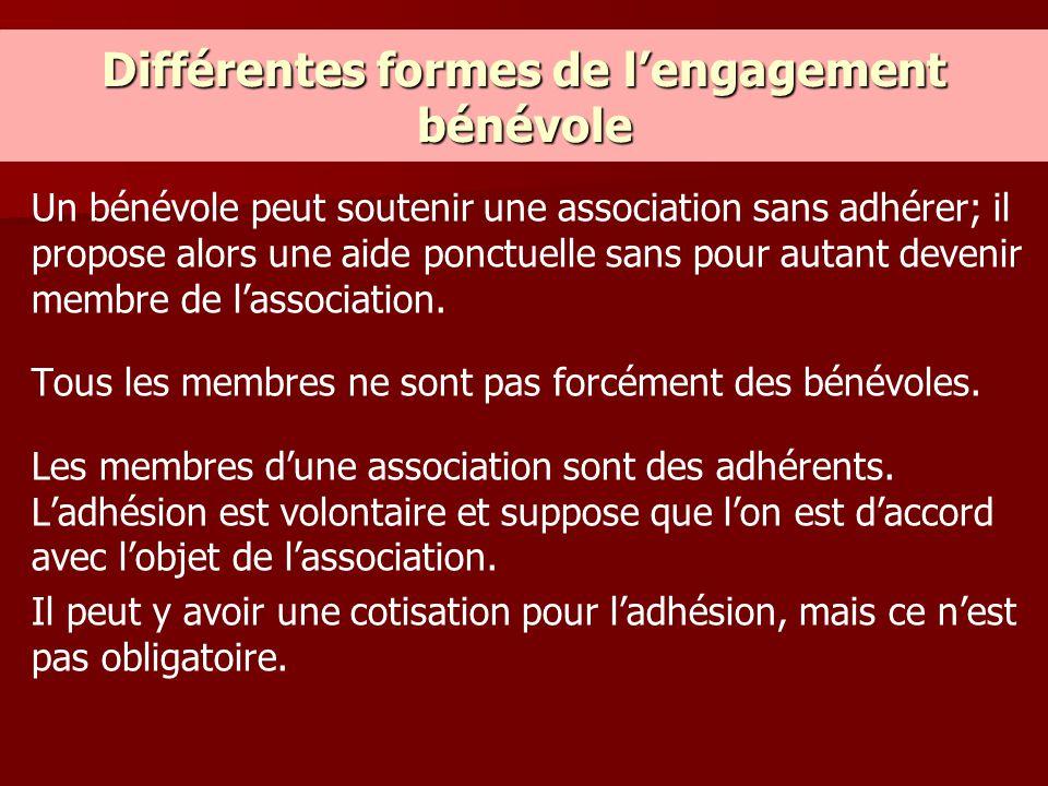 Différentes formes de l'engagement bénévole Un bénévole peut soutenir une association sans adhérer; il propose alors une aide ponctuelle sans pour aut