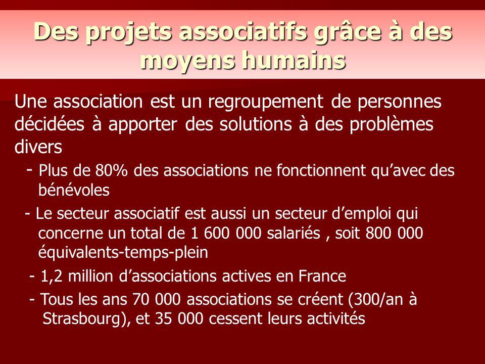 Des projets associatifs grâce à des moyens humains Une association est un regroupement de personnes décidées à apporter des solutions à des problèmes