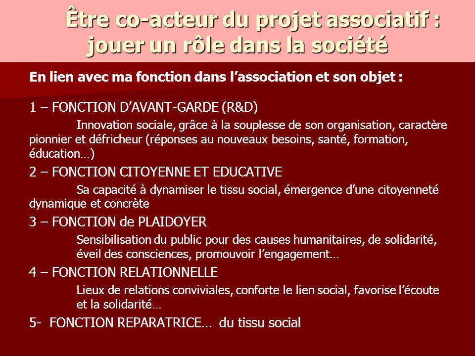 En lien avec ma fonction dans l'association et son objet : 1 – FONCTION D'AVANT-GARDE (R&D) Innovation sociale, grâce à la souplesse de son organisati