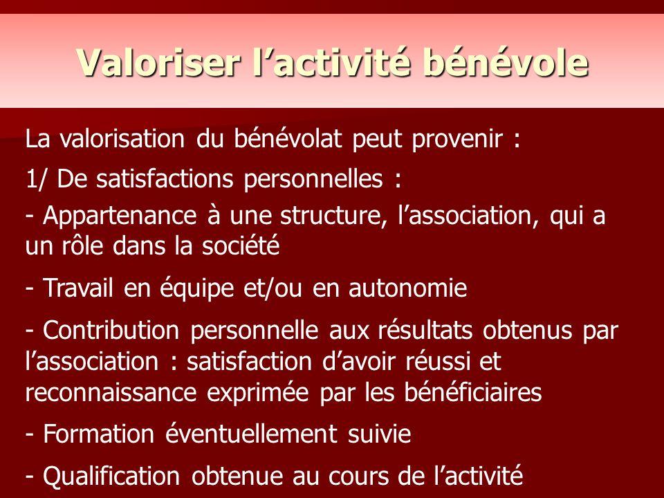 Valoriser l'activité bénévole La valorisation du bénévolat peut provenir : 1/ De satisfactions personnelles : - Appartenance à une structure, l'associ
