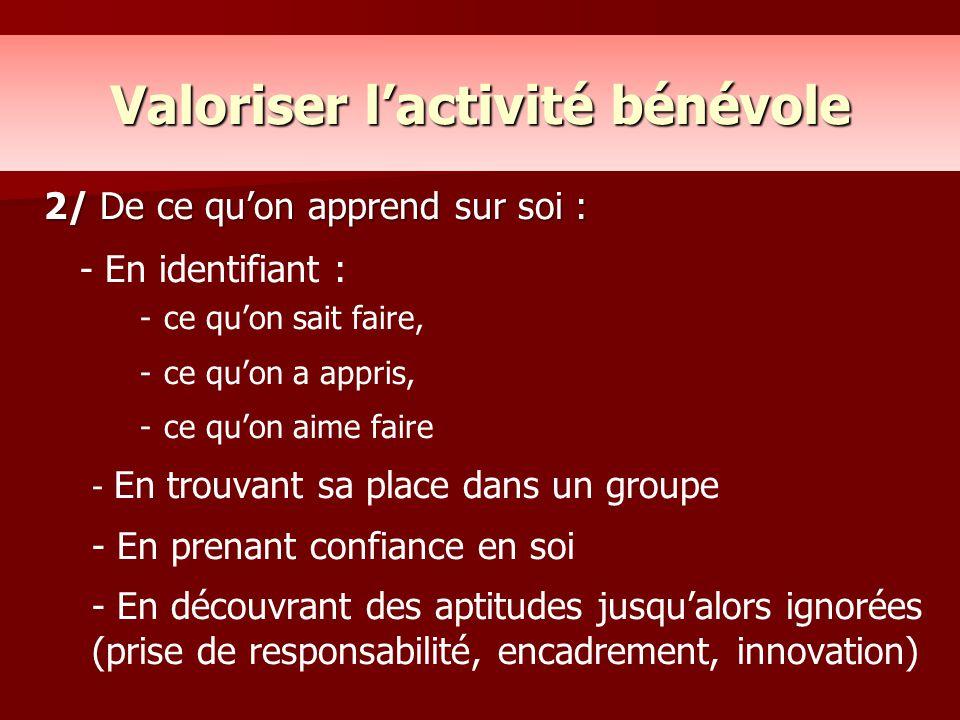 Valoriser l'activité bénévole 2/ De ce qu'on apprend sur soi : - En identifiant : - -ce qu'on sait faire, - -ce qu'on a appris, - -ce qu'on aime faire