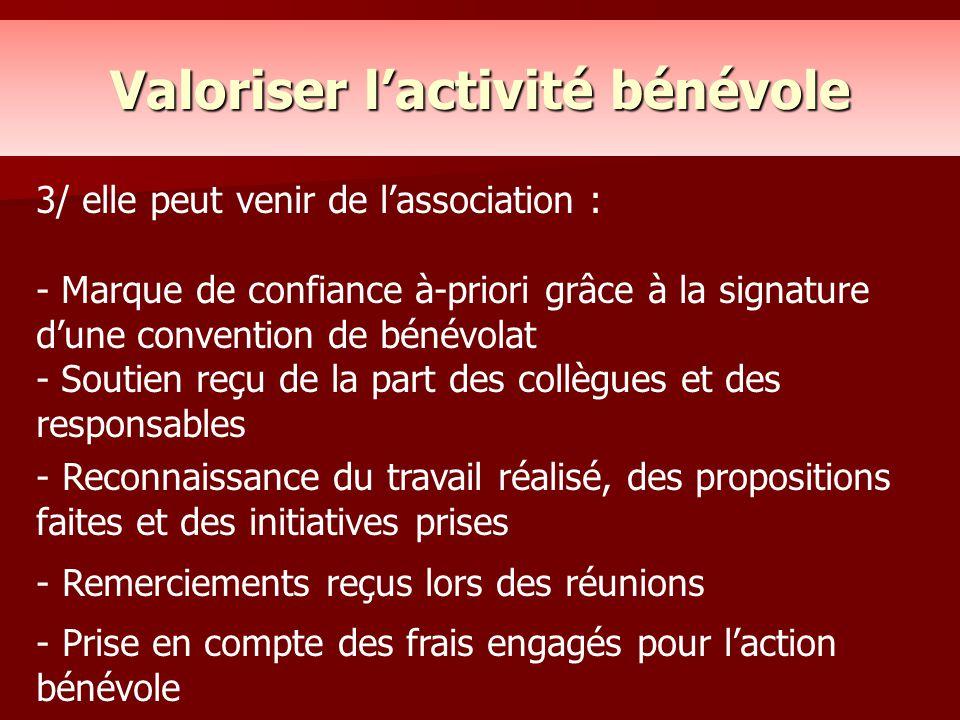 Valoriser l'activité bénévole 3/ elle peut venir de l'association : - Marque de confiance à-priori grâce à la signature d'une convention de bénévolat