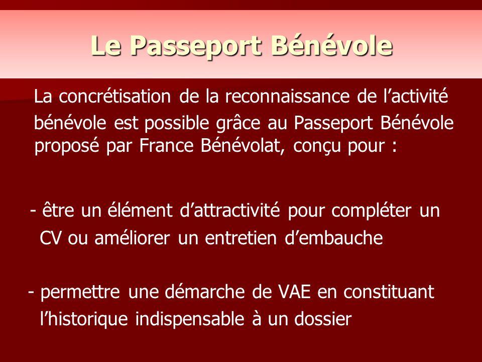 Le Passeport Bénévole La concrétisation de la reconnaissance de l'activité bénévole est possible grâce au Passeport Bénévole proposé par France Bénévo