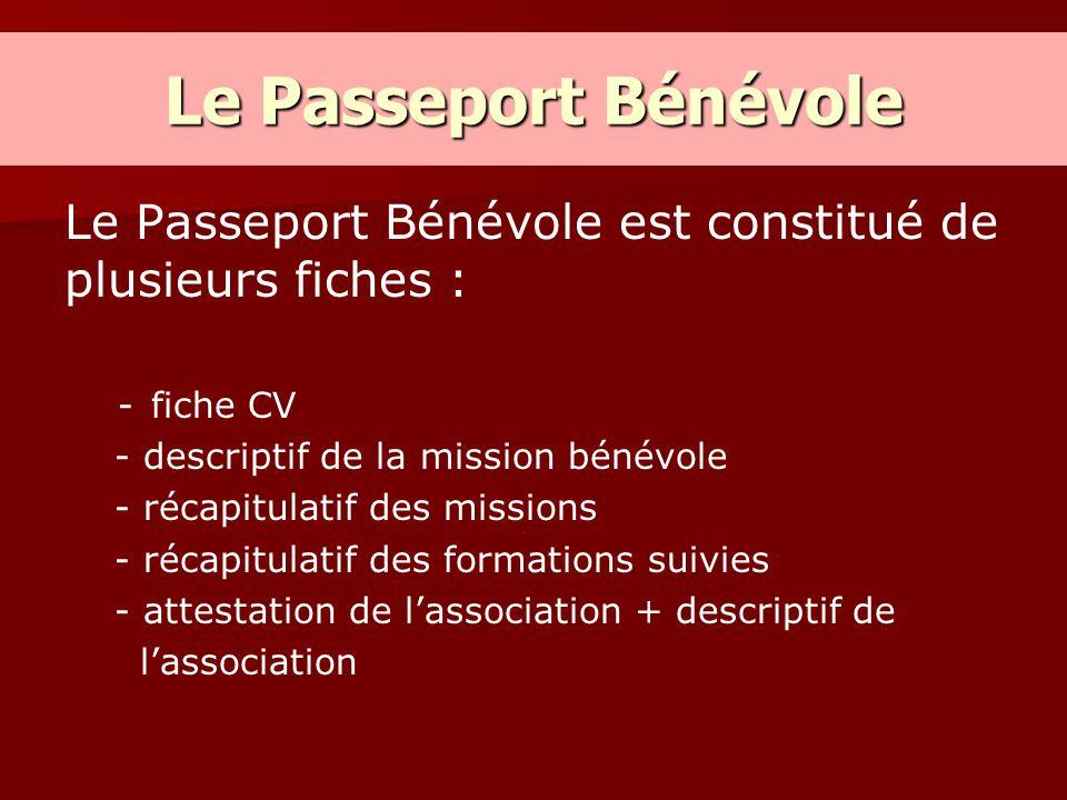 Le Passeport Bénévole Le Passeport Bénévole est constitué de plusieurs fiches : - -fiche CV - descriptif de la mission bénévole - récapitulatif des mi