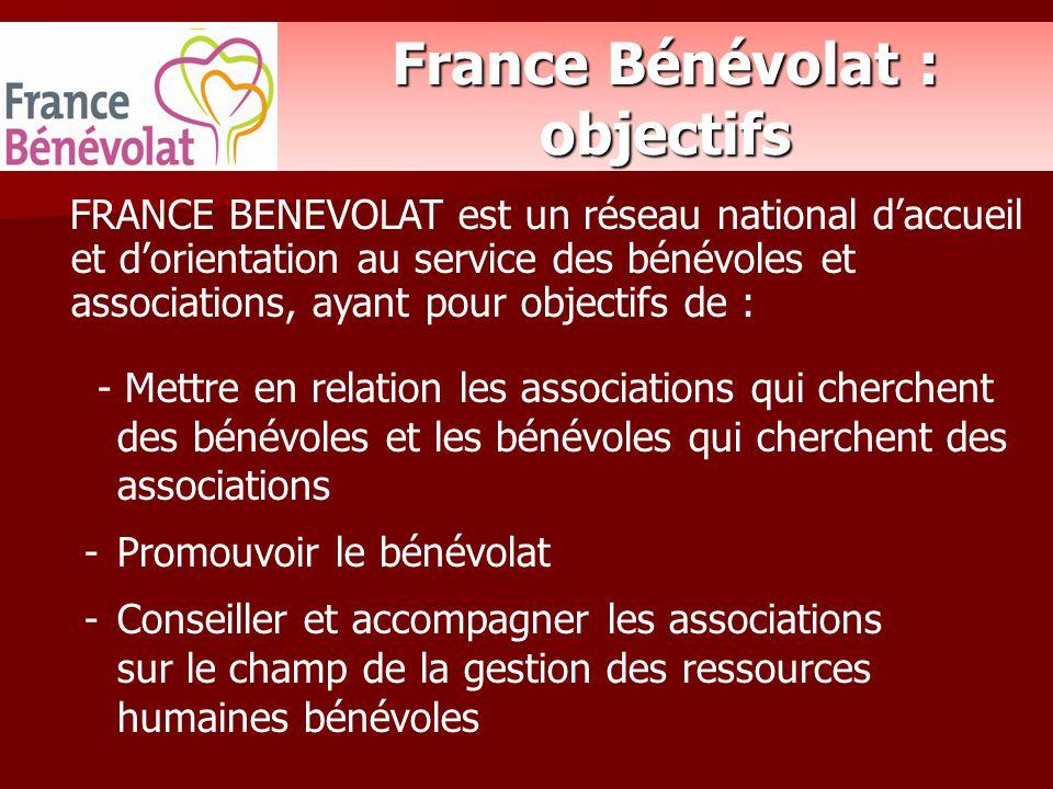 France Bénévolat : objectifs FRANCE BENEVOLAT est un réseau national d'accueil et d'orientation au service des bénévoles et associations, ayant pour o