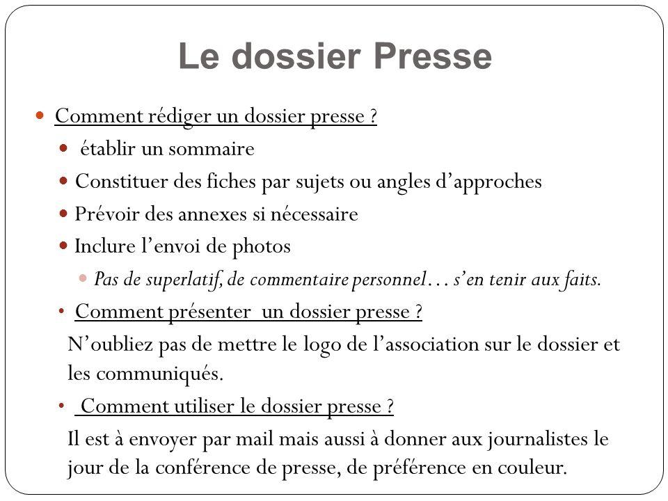 Le dossier Presse Comment rédiger un dossier presse .