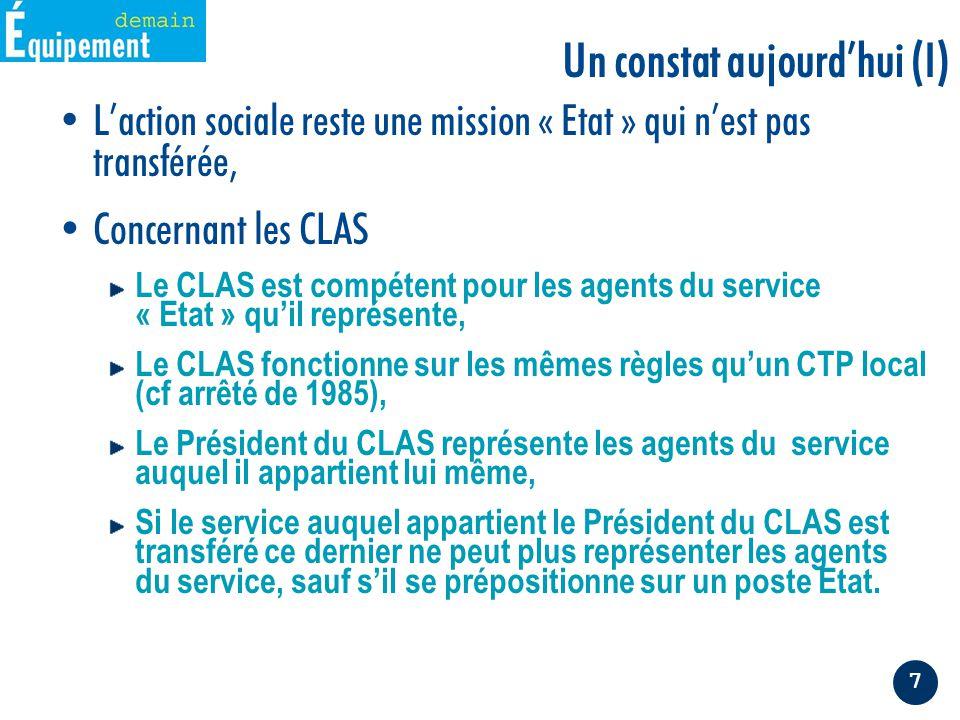 7 L'action sociale reste une mission « Etat » qui n'est pas transférée, Concernant les CLAS Le CLAS est compétent pour les agents du service « Etat » qu'il représente, Le CLAS fonctionne sur les mêmes règles qu'un CTP local (cf arrêté de 1985), Le Président du CLAS représente les agents du service auquel il appartient lui même, Si le service auquel appartient le Président du CLAS est transféré ce dernier ne peut plus représenter les agents du service, sauf s'il se prépositionne sur un poste Etat.