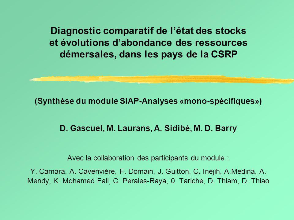 Diagnostic comparatif de l'état des stocks et évolutions d'abondance des ressources démersales, dans les pays de la CSRP (Synthèse du module SIAP-Analyses «mono-spécifiques») D.