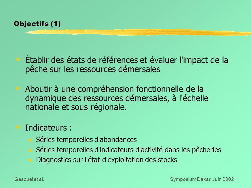 Gascuel et al.Symposium Dakar, Juin 2002 Objectifs (1)  Établir des états de références et évaluer l'impact de la pêche sur les ressources démersales