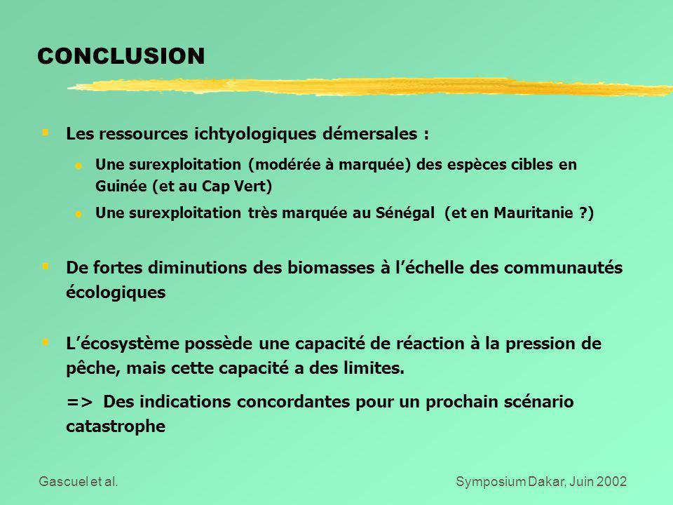 Gascuel et al.Symposium Dakar, Juin 2002 CONCLUSION  Les ressources ichtyologiques démersales : l Une surexploitation (modérée à marquée) des espèces