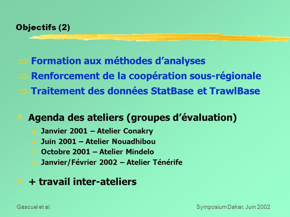 Gascuel et al.Symposium Dakar, Juin 2002  Formation aux méthodes d'analyses  Renforcement de la coopération sous-régionale  Traitement des données