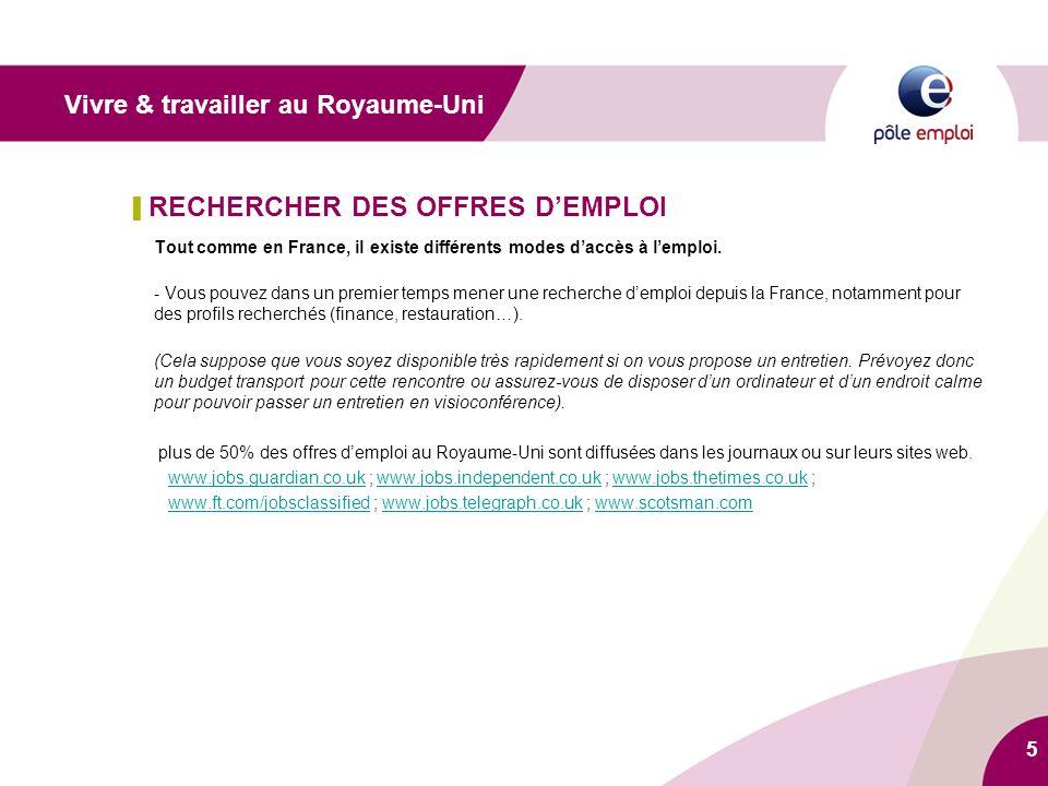 5 ▌ RECHERCHER DES OFFRES D'EMPLOI Tout comme en France, il existe différents modes d'accès à l'emploi. - Vous pouvez dans un premier temps mener une