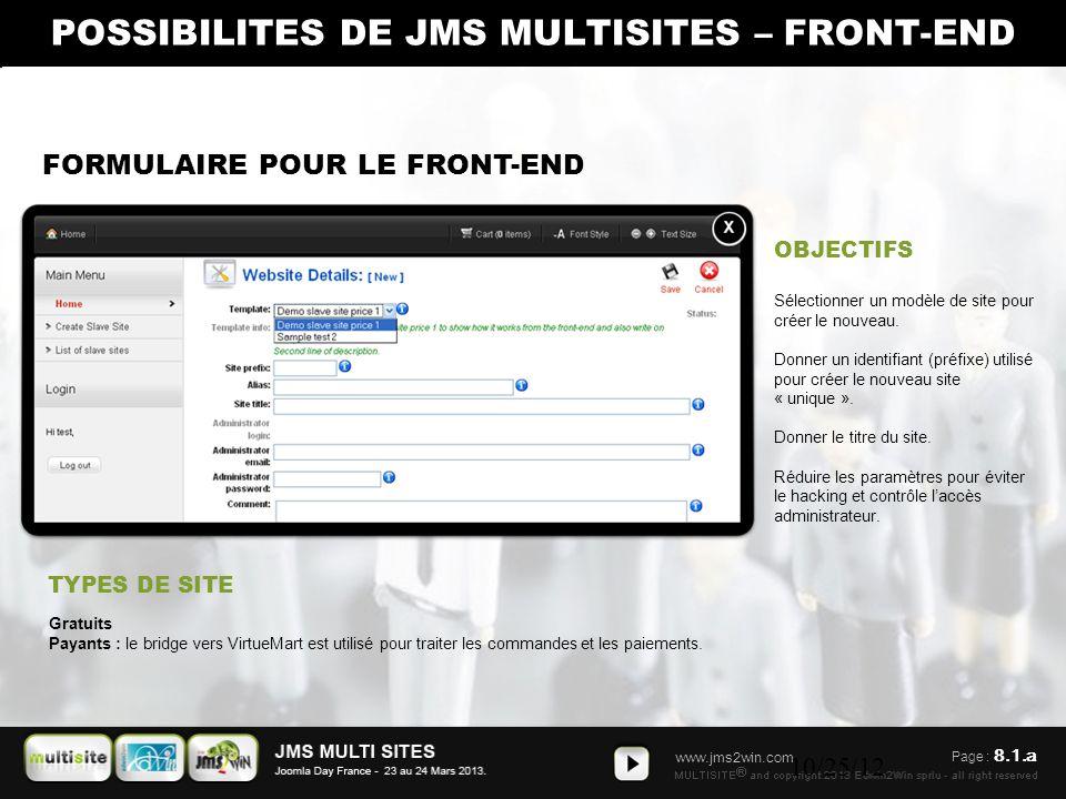 www.jms2win.com 10/25/12 FORMULAIRE POUR LE FRONT-END OBJECTIFS TYPES DE SITE Sélectionner un modèle de site pour créer le nouveau. Donner un identifi